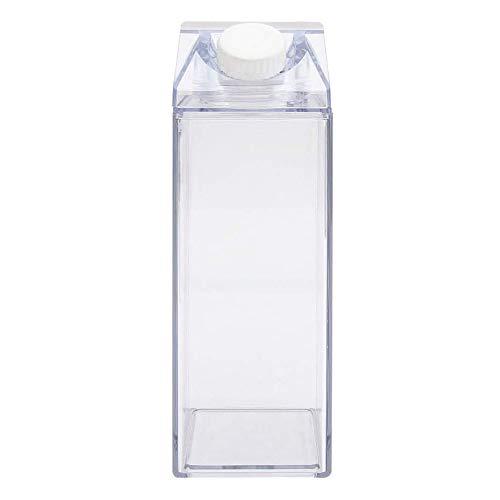 Gfdg Botellas de Agua de Cartón de Leche,Botella de Leche Transparente Cuadrada,Botella de Zumo,Botella de Leche,Botella de Agua Portátil,para Deportes,Viajes,Actividades de Campamento(500ML)