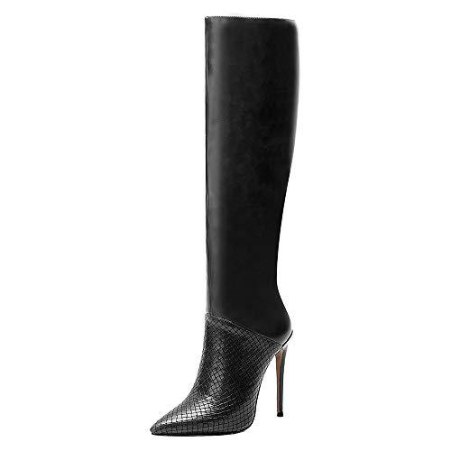 Lydee Mujer Moda Knee High Botas Tacones de Aguja