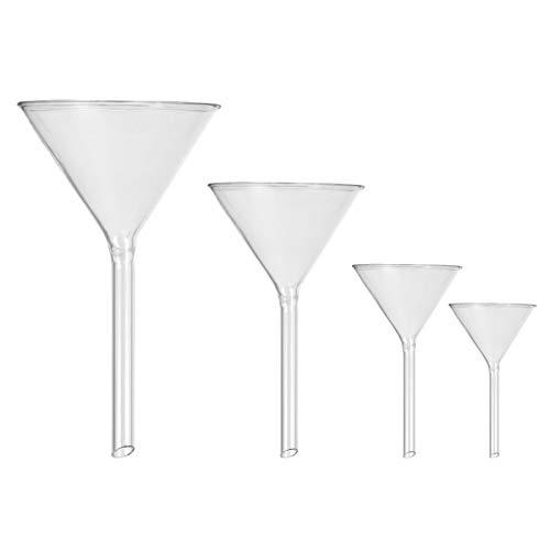 Hemobllo Glass Funnel Set, Glassware Labware for Labs 45mm, 50mm, 75mm, 100mm (4pcs)