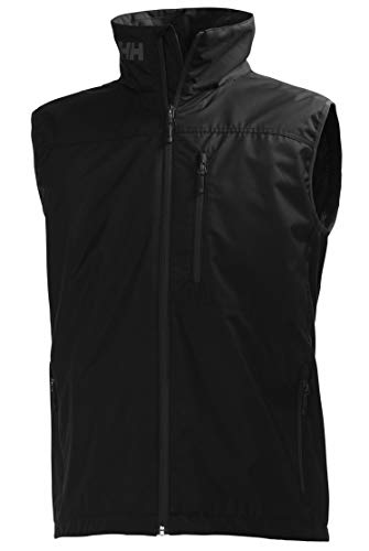 Helly Hansen Crew Vest Chaleco Marino con Forro Polar Interior para Hombres, Impermeable y diseñado para Cualquier Actividad Casual o Deportiva, Negro, L