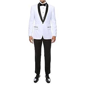 Ferrecci Men's Reno Slim Fit Shawl Lapel Collar 2 Piece Tuxedo Suit Set – Tux Blazer Jacket and Pants