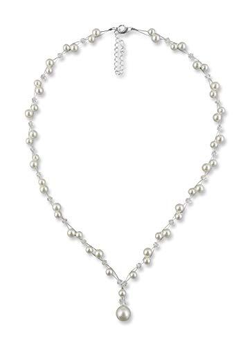 Rivelle Damen Y-Kette mit Perlen creme Perlenkette Perlen Collier Halskette Necklace Modeschmuck Hochzeit