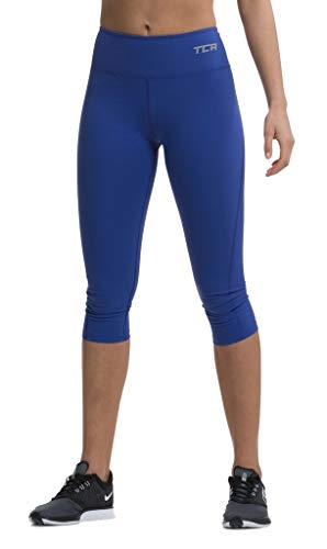 TCA Pro Performance Supreme Damen 3/4 Capri-Laufhose/Leggings - Blau, M