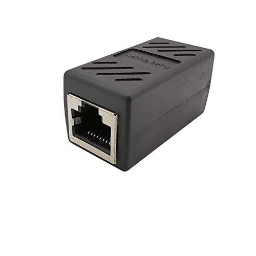 ZHANGSHENG Zsheng 1 unids Negro RJ45 Conector Hembra a Mujer Jack Network Ethernet LAN Conector RJ45 Acoplador Extensión de Cable Convertidor de extensión