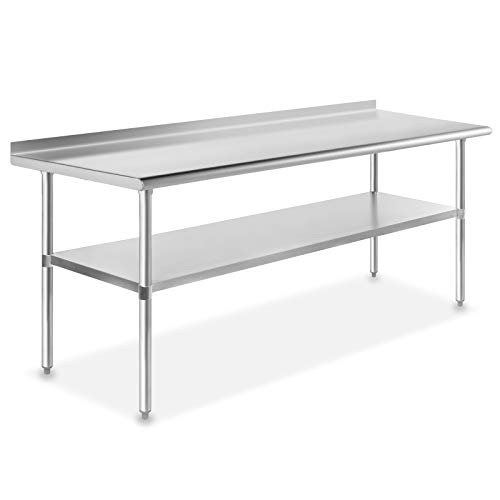 GRIDMANN NSF Stainless Steel Commercial Kitchen Prep & Work Table w/ Backsplash - 72 in. x 24 in.