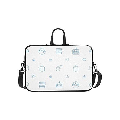 15.6″Durable Hombro Mensajero Bolsa maletín PC Pastel Iconos Patrón Blanco Moda Impermeable Ordenador Portátil/portátil/Tablets