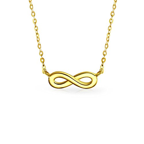 Tiny 14K Yellow Real Gold Polished Station Love Symbol Infinity Pendant Necklace For Women For Teen For Girlfriend