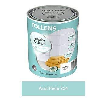 Tollens - Esmalte para azulejos al agua 750 ml (Azul Hielo 234) Impermeable, brillante,acabado liso