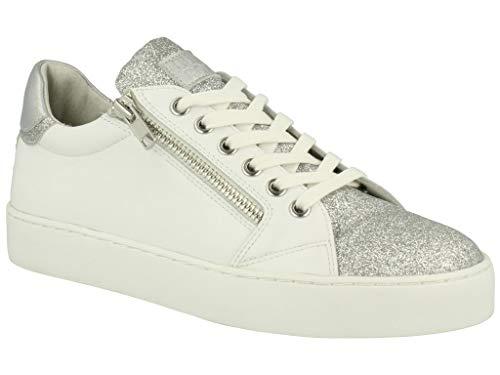 BULLBOXER Damen Sneaker 962049F5L, Frauen Skater Sneaker,Sportschuh,Low-Top,Schnürer,Halbschuh,Plateau-Sohle,Weiss,36 EU