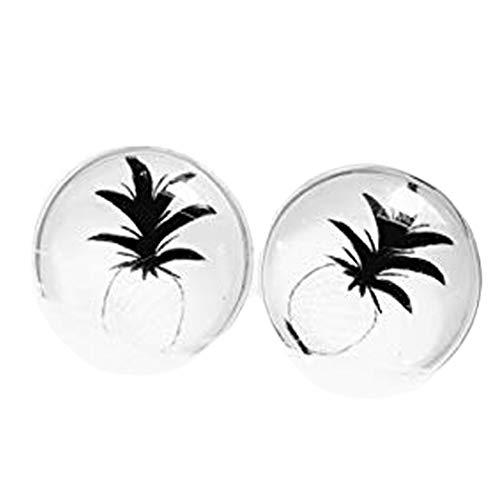 Pendientes de botón estilo boho de piña con forma de cúpula de cristal, pendientes personalizados