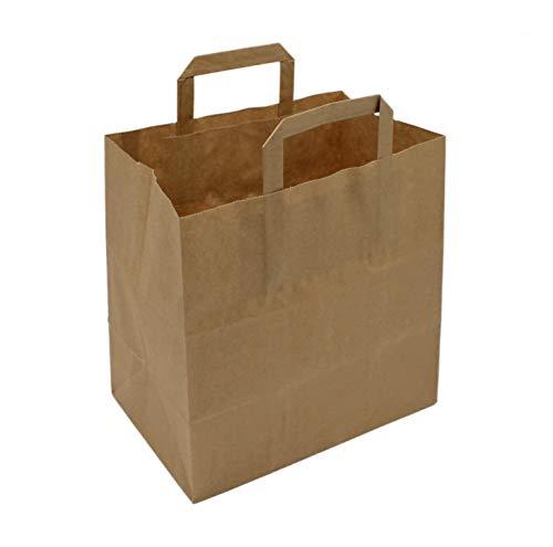 BAMI 250 Stück Papiertragetasche Papiertasche 32+15x40 cm, BRAUN - 80gr/m, Einkaufstüte Tüte Henkeltasche Tragetasche Papiertüten aus Pappe Recyclebar