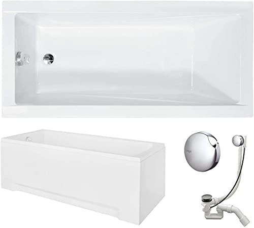 VBChome Badewanne 180x80 cm Acryl SET 3-Teilige Schürze Siphon Wanne Rechteck Weiß Design Modern Wannenfüßen Ablaufgarnitur Chrome Viega Simplex