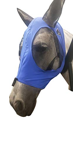 TGW RIDING Extra Comfort Fabric Grip Soft Mesh Horse Fly Mask with Ears (L, Dk Blue)