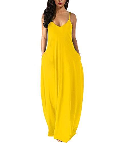 Wolddress Womens Casual Sleeveless Plus Size Loose Plain Long Maxi Dress with Pocket Yellow 2X