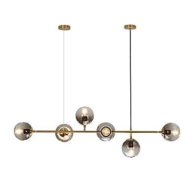 Modo Lighting Mid-Century Modern Ceiling Pendant Chandelier Golden 6 Light Globe Glass Hanging Light for Dining Room