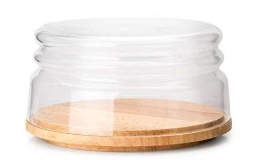 Continenta Käseglocke/Schüssel, 2-tlg. aus Gummibaumholz und mundgeblasenem Glas, Ø 20,5 x 11cm