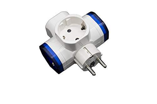 Clavija triple schuko (16A/250V) con interruptor. Adaptador T.T lateral.