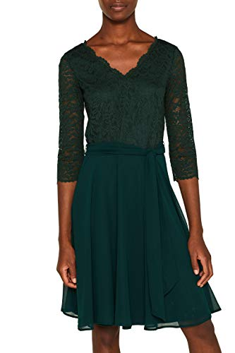 ESPRIT Collection Damen 109Eo1E006 Kleid, Grün (Dark Teal Green 375), Medium (Herstellergröße: M)