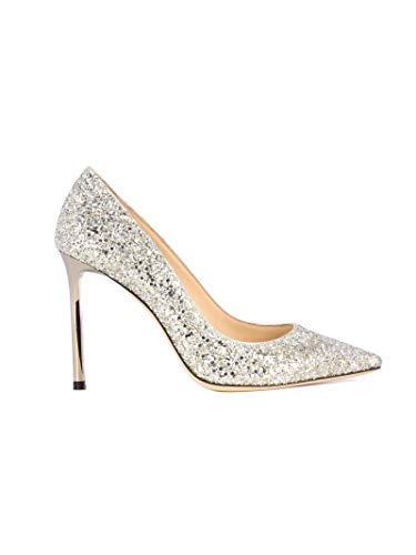 JIMMY CHOO Luxury Fashion Donna ROMY100CGFCHAMPAGNE Argento Glitter Decolleté | Autunno-Inverno 19