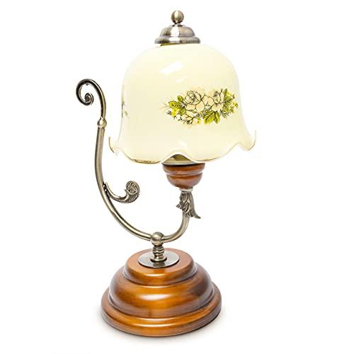 Relaxdays Lampe de Table Design Vintage Rétro Bois Métal laiton 40 W E27 abat-jour en verre avec motifs fleurs