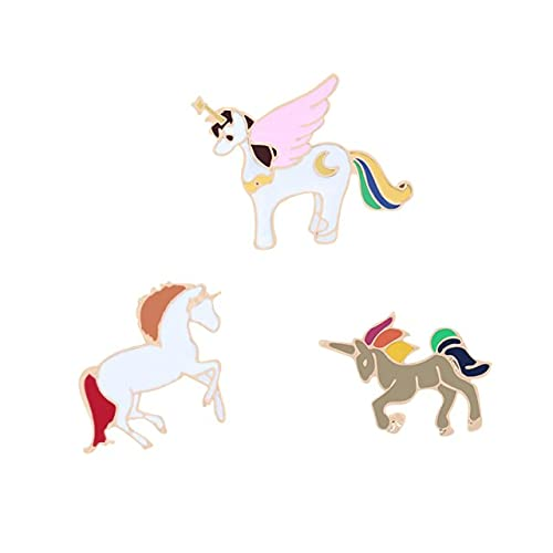 3pcs/Set Animales de dibujos animados Broche Monos Lindos Alpaca Ovejas Gato Pez Perro Conejo Chaquetas Lapel Esmalte Pin Insignias-Caballo