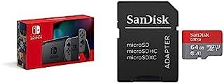 Nintendo Switch 本体 (ニンテンドースイッチ) Joy-Con(L)/(R) グレー(バッテリー持続時間が長くなったモデル)+サンディスク microSD 64GB