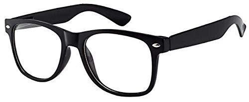 Boolavard® Nerd Sonnenbrille im Wayfarer Stil Retro Vintage Unisex Brille - 45 Modelle wählbar (Schwarz Klar)