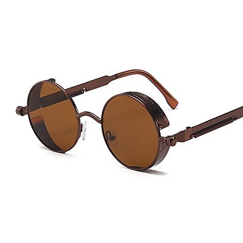 KUELXV Gafas de sol Clásico estilo gótico Steampunk Gafas de sol redondas Hombres Mujeres Diseñador de la marca Marco de metal redondo retro Lente colorida Gafas de sol, Té de bronce