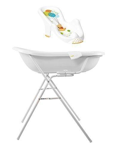 Disney Winnie Pooh weiß Baby Badewanne XXL 100 cm + Badewannenständer + Badesitz + Waschhandschuh