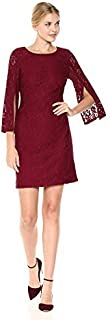Nine West Women's Elegant Lace Boatneck Dress with Split Sleeve Detail