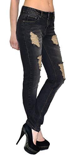 ESRA Damen Röhrenjeans Skinny Jeans mit Risse Damen Destroyed Jeanshose bis Übergröße J312