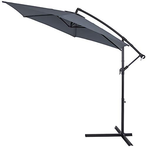 Kingsleeve Sonnenschirm anthrazit 300 cm UV Schutz 40+ Groß Knickbar Kurbel Ampelschirm Garten Terrasse Balkon Gartenschirm