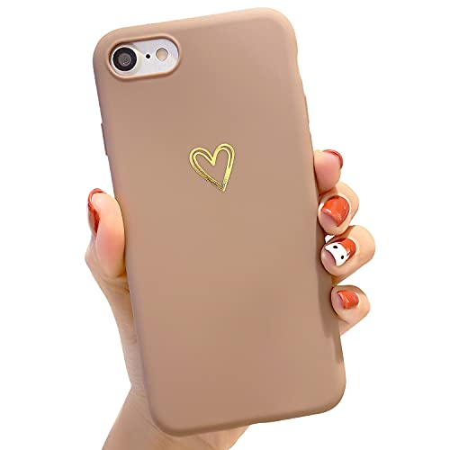 """Compatible with iPhone 6/6s Case for Women Girls, Soft Flexible Durable Cute Heart Pattern Slim Thin TPU Shockproof Case for iPhone 6/6s 4.7"""" -Brown"""