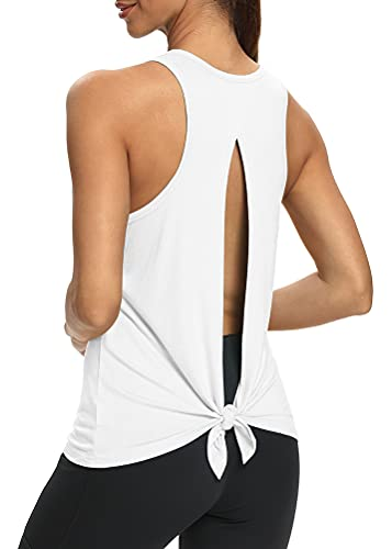 Mippo Womens Workout Tank Tops Backless Yoga Shirts Sleeveless Workout Shirts Flowy Athletic Tank Tops Open Back Activewear Tops Exercise Fitness Clothes for Women White M