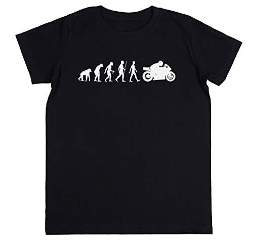 Wigoro Evolución De Moto Niños Unisexo Chicos Chicas Negro Camiseta Kids Unisex T-Shirt
