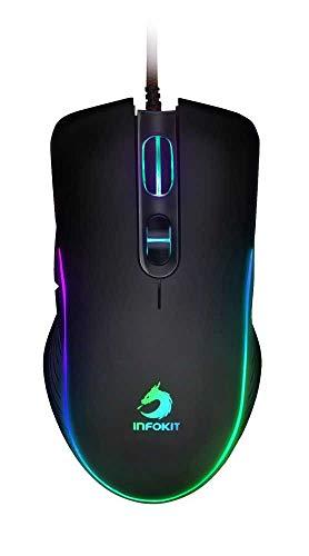 Mouse Gamer USB Anatômico com Led Flow Effect Ajuste de DPI Sensor Óptico 6400DPIs Botões Laterais GM-V550