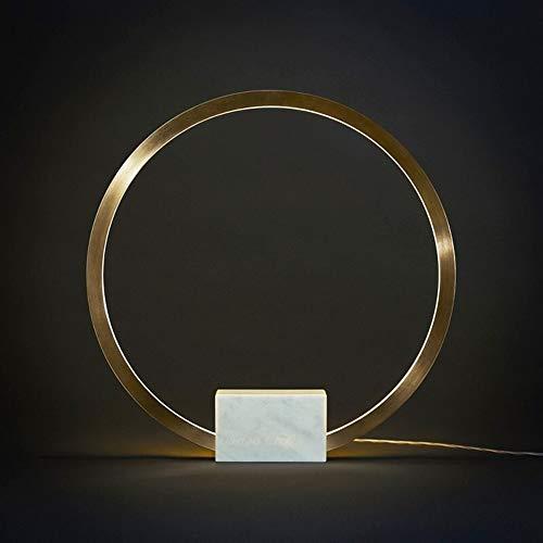 ZALE Augenschutz Tischlampe, Moderne LED Beistelltisch Lampe, Metallring Home Luxury Marmor Lampen-Schlafzimmer-Nacht Study entlasten Müdigkeit (Emitting Color : White)