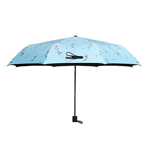 Unbekannt Innovativer UV-Sonnenschutz-Regenschirm UV-Schutz Regen Doppelt verwendbarer Klapp-Sonnenschirm THANSANDAU (Farbe : Pfauenblau)