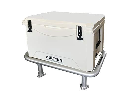 DOLPHIN Fishing Boat Leaning Post Ice Chest Rack and Seat Cooler. Anodized Aluminum Frame, 85QT (80L) Rotomold Double Walled Ice Chest/Dry Box with Snap On Seat Cushion- Cooler Dim: 25.6'x 16.5'x 15'