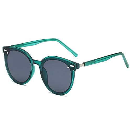 LKEYE Vintage Retro Polarized Oversized Keyhole Round Mirrored Lens Sunglasses For Women Eyewear LK1801 Dark green/Grey