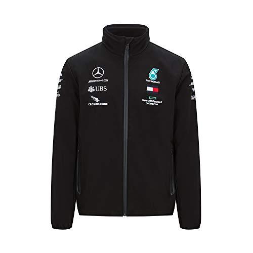 MAMGP Offizielle 2020 Mercedes-AMG F1 Team Regenjacke Lewis Hamilton Softshell Mantel, Schwarze Softshelljacke, Herren (S) Brust 88-92 cm