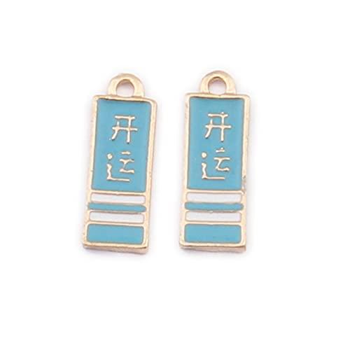 LLBBSS 10 piezas de esmalte de 7 x 19 mm, incluye colgantes de Smulet chino, pequeños colgantes hechos a mano con colgante de pulsera