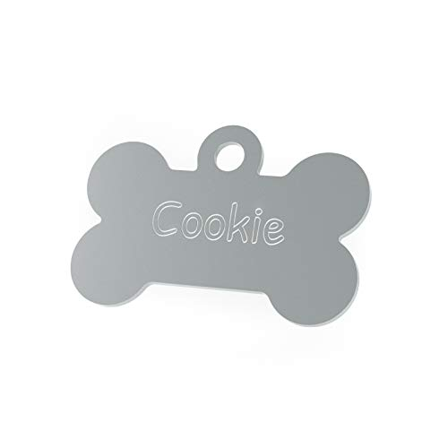 ENGRAVO Hundemarke Knochen in Silber 32mm mit Deiner persönlichen Gravur und 2 gratis Schlüsselringe