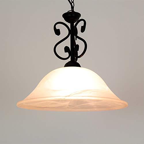 Landhaus Pendelleuchte Schwarz Metall Alabaster Glas Ø25cm rustikal Lampe DOROTHEA Wohnzimmer Küche