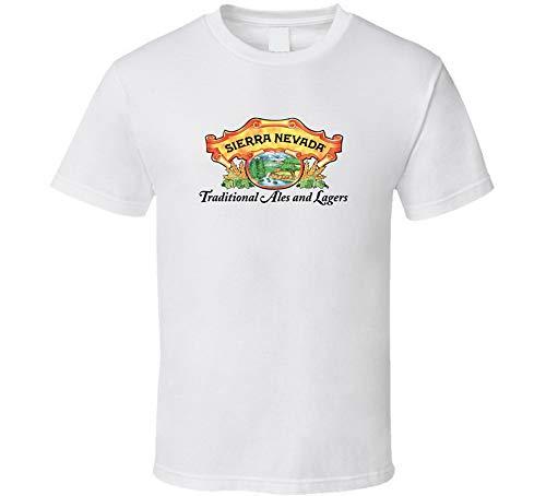 HGS Sierra Nevada - Camiseta de cerveza tradicional con logotipo de Ales y Lagers, color blanco