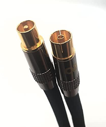 Ideemax Cable de antena de televisión (5 m, HDTV, 135 dB, Full HD, 4K, UHD, DVB-C, DVB-S2, conector de TV, conector de metal), color negro