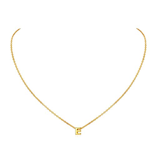Gold Initial E Pendant Necklace Personalized Name Jewelry Tiny Charm with Rolo Chain