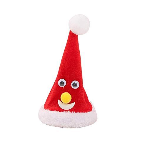 Elektrische Mütze Weihnachtsmützen,Elektrische Schaukel Weihnachtsbaum Weihnachtsmann Spielzeug,Kreative Weihnachtsbaum Hängen Plüsch Ornament, Holiday Party Requisiten (keine Batterie Enthalten)