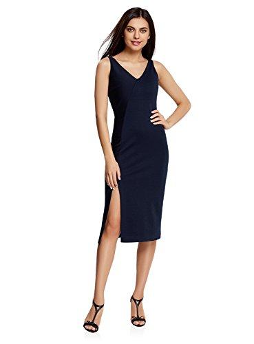 oodji Ultra Mujer Vestido de Corte Asimétrico con Abertura, Azul, ES 42 / L