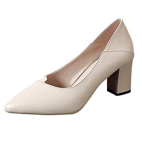 MRULIC Damen Basic Business Schuhe Spitzenschuhe Einzelne Schuhe Blockabsatz Mit formeller Arbeitskleidung(Beige,35 EU)